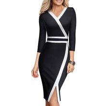 Ретро шик Сторона Spilt сексуальное черное платье Elrgant V шеи носить на работу Bodycon платье EB563