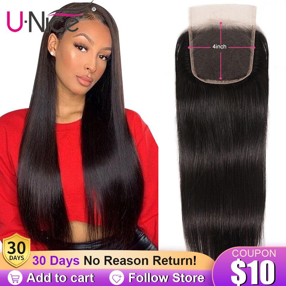 """Unice cabelo peruano cabelo reto fechamento do laço livre & meio & três parte remy fechamento do cabelo humano 4 """"x 4"""" laço suíço 1 pcs"""