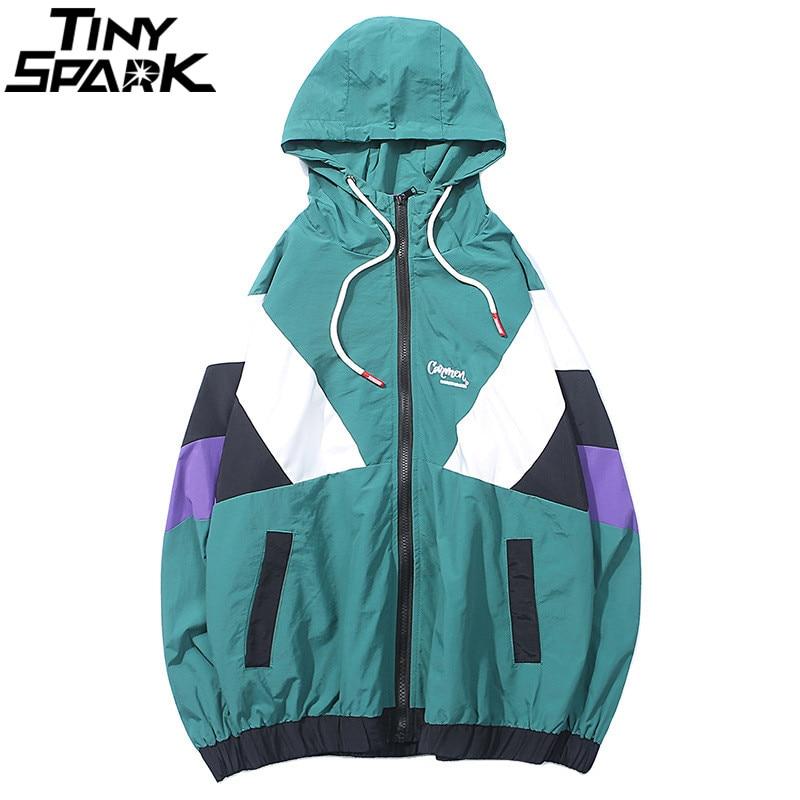 Harajuku Track Jacket Windbreaker Men Hip Hop Streetwear Hooded Jacket Color Block Autumn 2018 Casual Hoodie Jacket Coat Hipster