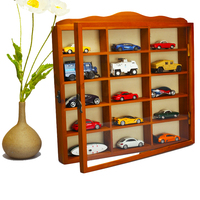 1:64 solid wood car model display stand Booth Acrylic glass showcase table set wall mount vehicle collection parts for fans gift