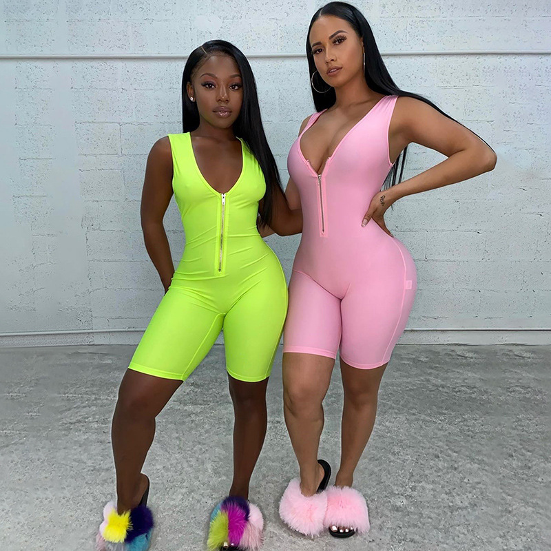 Skinny Neon Solid Color Sexy Low-cut V-neck Sleeveless Zipper Bodysuit Elastic Hight Female Playsuit 2020 New Jumpsuit Sportsuit