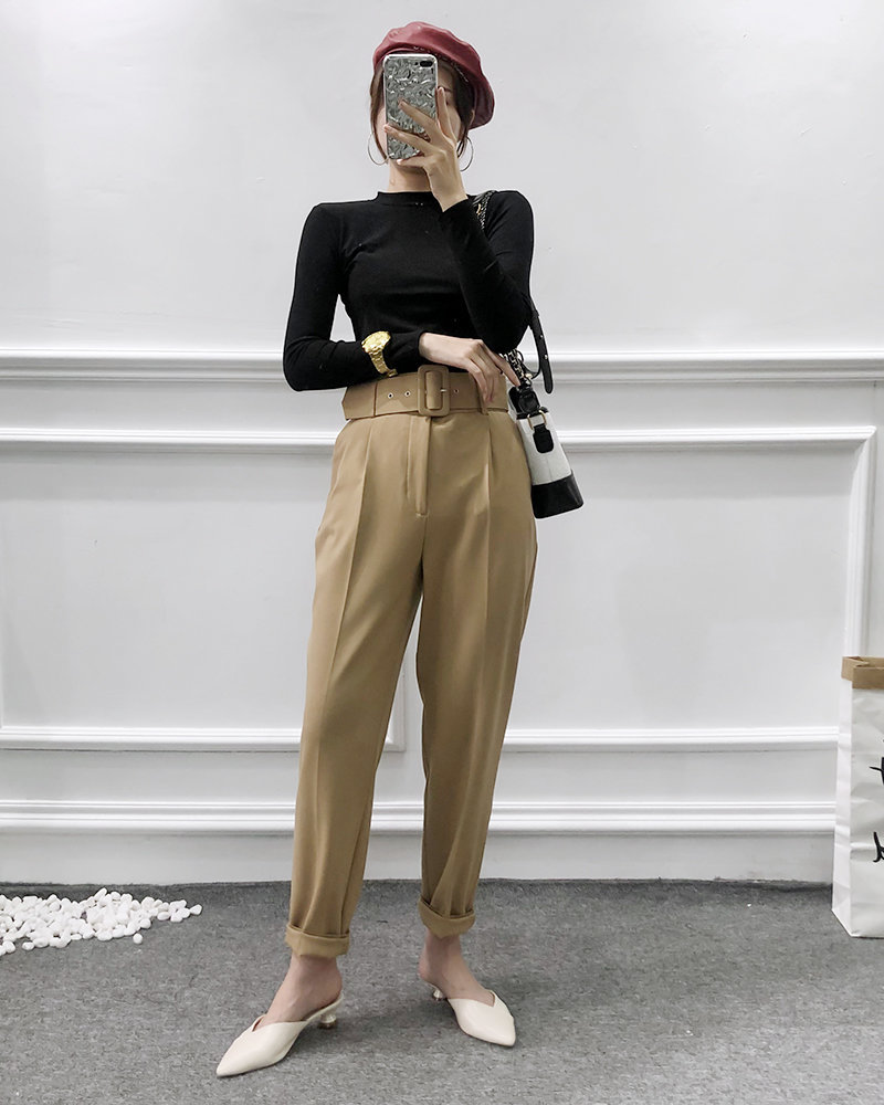 H3cbd735f5354429e9bf38b72498176d0f - Office Lady Black Suit Pants With Belt Women High Waist Solid Long Trousers Fashion Pockets Pantalones FICUSRONG Pencil