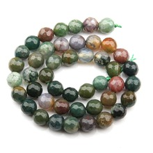 цена Wholesale Round Faceted Indian Agat Beads Natural Stone Beads Loose Beads for Bracelet Making for Jewelry Making Free Shipping онлайн в 2017 году