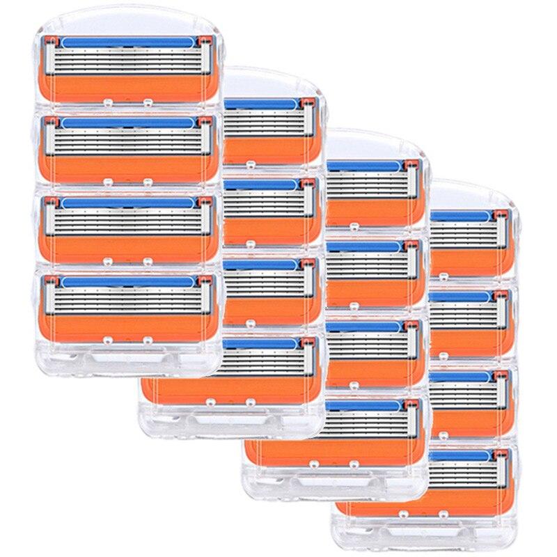 16 pièces/boîte lame de rasoir pour hommes soins du visage 5 couches rasage Cassette acier inoxydable lames de sécurité costume pour Gillettee Fusione