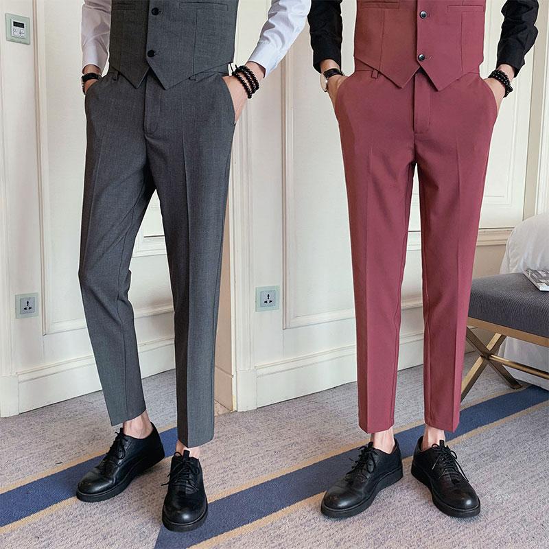 2020 Spring Summer Mens Dress Suits Pants Formal Business Office Social Pants Casual Slim Fit Classic Streetwear Trousers Men