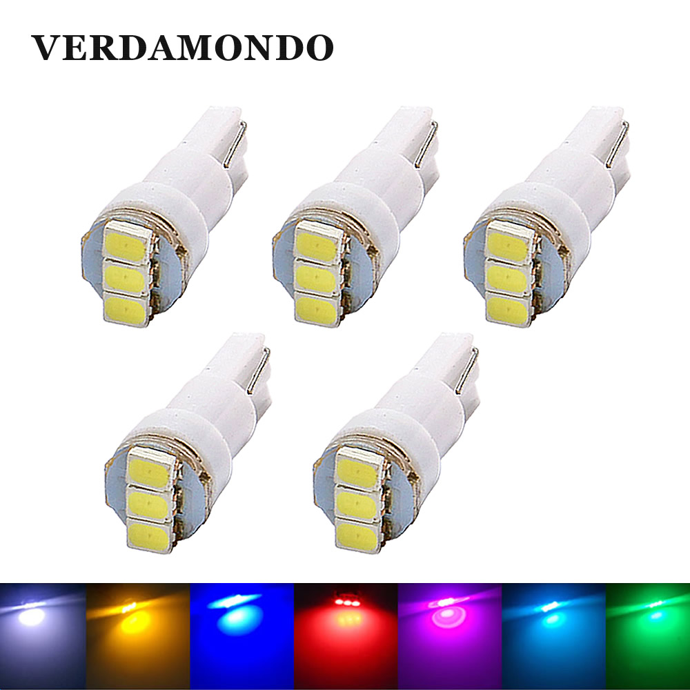 5 Pcs T5 Wedge 3 1206 SMD LED Car Interior Light Dashboard Bulbs License Plate Lamp Yellow Ice Blue Red Pink Green White 12V DC