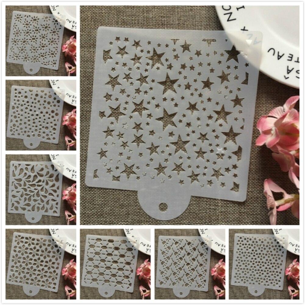 8Pcs/Set 15cm Stars Drop Dot DIY Layering Stencils Wall Painting Scrapbook Coloring Embossing Album Decorative Card Template
