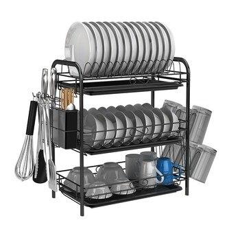Black Iron Drain Dish Rack Multifunctional Kitchen Storage Racks for Chopping Board Bowl Plates Cups Holder Draining Storage