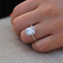 Anillo Rectangular De diamante De 3,5 quilates con diseño De princesa, anillo De compromiso, anillo De compromiso, joyería para Anillos, anillo De boda para mujer