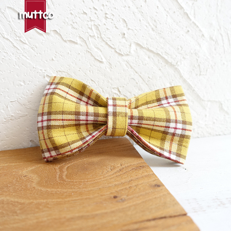 Muttco Dog Plaid Neck Ring Accessories High Quality Entirely Handmade Pet Bow Ubt-057
