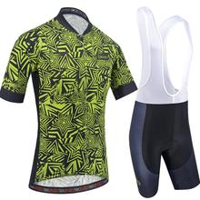 BXIO Fluo Green Cycling Jerseys , Short Sleeves Bicycle Wear Quick-dry 5D Gel Pad Shorts Suits for Men 214