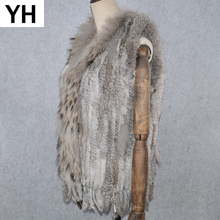 2019 Women Real Rabbit Fur Vest Handmade Knitted Tassels 100 Real Genuine Rabbit Fur Gilet Real Raccoon Fur Collar Waistcoat cheap doakxol Raccoon Dog Fur Fashion Slim Fur Real Fur YH-80825 STANDARD REGULAR With Raccoon Dog Fur Collar Sleeveless Covered Button