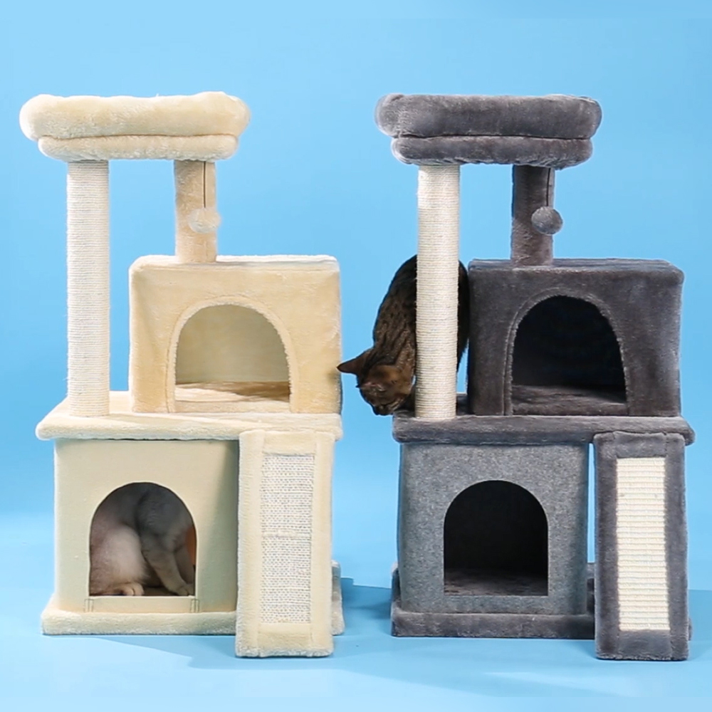 Cat Tree Multi-level Cat Play House Sisal Scratching Pad and Posts Simple and Elegant Style for Small Cat Kitty