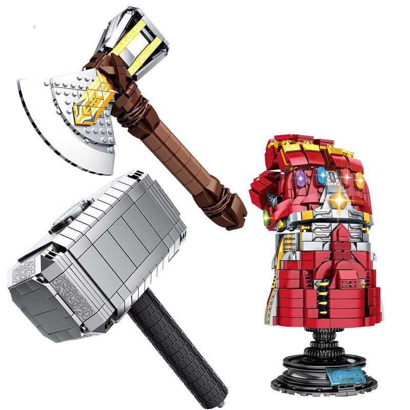 Marvel оружие Мстители 3 Бесконечная война танос Бесконечность гаунтлет Супер Герои модель строительные блоки игрушки для детей