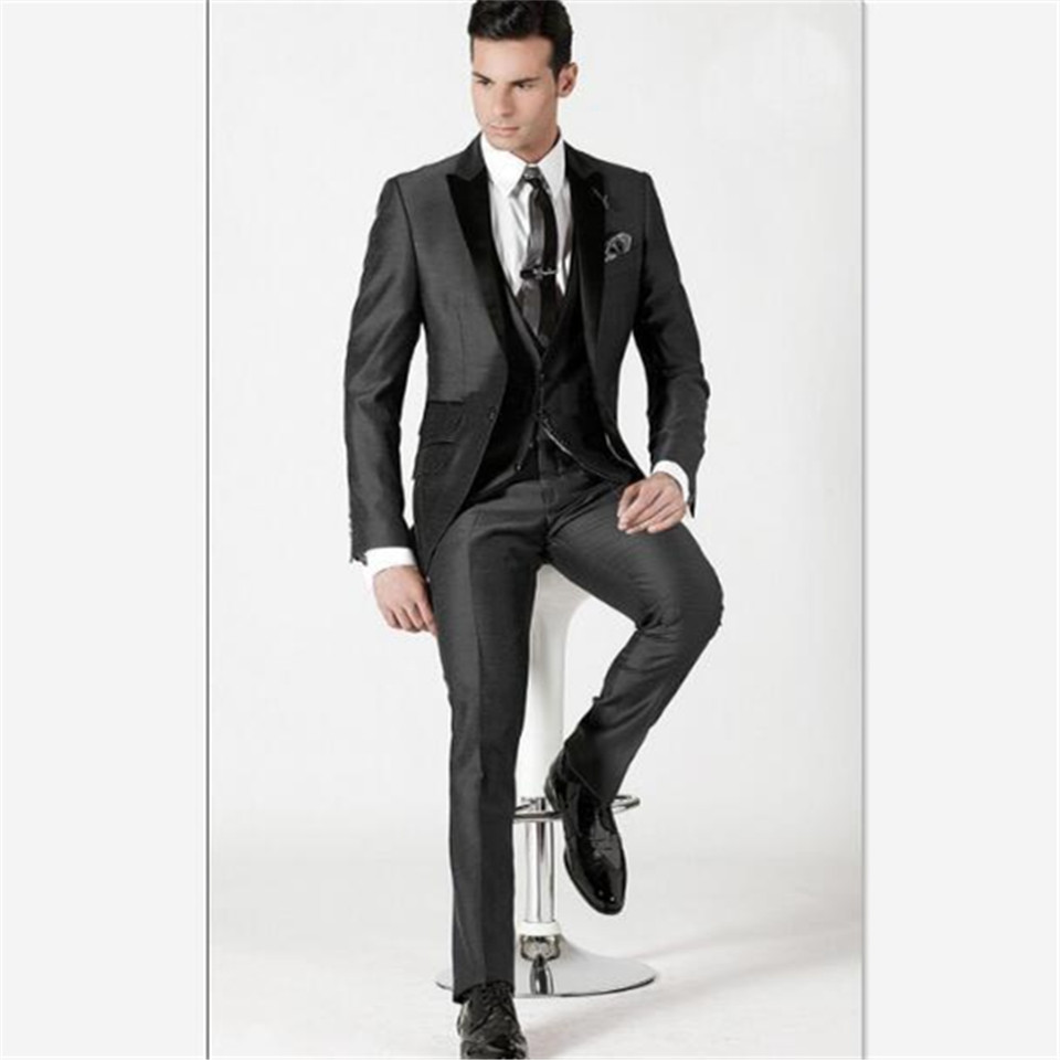 New Classic Men's Suit Smolking Noivo Terno Slim Fit Easculino Evening Suits For Men Custom Made Gray  Tuxedo Groom Formal Weddi