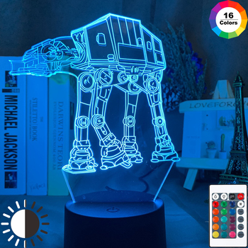 3d Lamp Star Wars Vehicle AT AT Home Decor Nightlight Cool Xmas Gift for Boy Friend Child Kids Led Night Light Star Wars ATAT [funny] creative star wars boba fett helmet figures model 3d wall lamp unique led light lamp ornament home room decorations gift