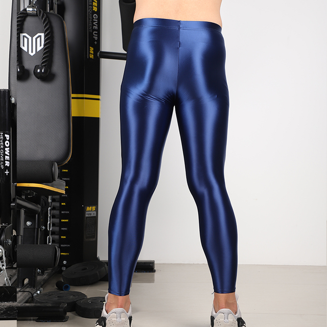 Men's shiny satin high stretch trousers. Step pants, nine-point pants, three kinds of leggings, sports pants, fitness leggings 3