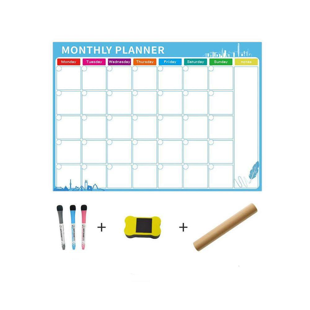 Magnetic Dry Erase Calendar For Fridge 3 Fine Tip Large Magnets-Monthly Eraser And For Refrigerator Whiteboard Markers With L5J0