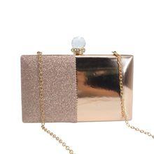 цена на Simple Design Women Lady Glitter Wallet Clutch Bag Bridal Chain Purse Evening Party Handbag