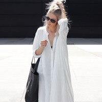 2019 New Women Summer Beachwear Long Kaftan Beach Dress White Cotton Tunic Bathing Suit Cover ups Bikini Wrap Cover up Oversize