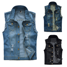 цены Men Ripped Denim Vest Vintage Hole Vest Coat Dark Blue Single Breasted Sleeveless Jean Jacket For Male Shredded Outerwear D40