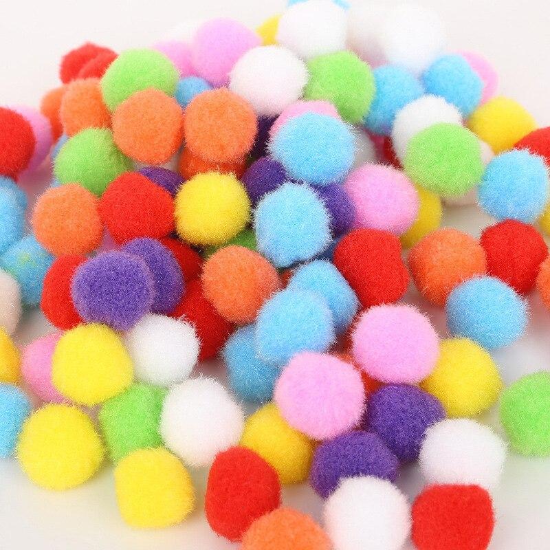 300Pcs 10mm PomPoms Ball Crafts Toy Soft Round Fluffy Mixed Color DIY Kids Children Handicrafts Decoration Girl Gift
