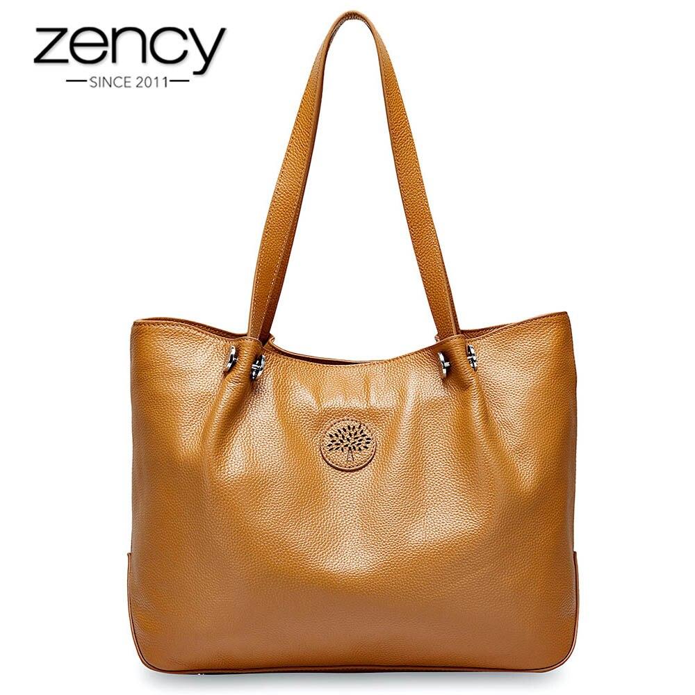 Zency gran capacidad bolso de hombro de mujer 100% bolso de cuero genuino Simple de moda señora bandolera bolso de mano negro-in Cubos from Maletas y bolsas    1