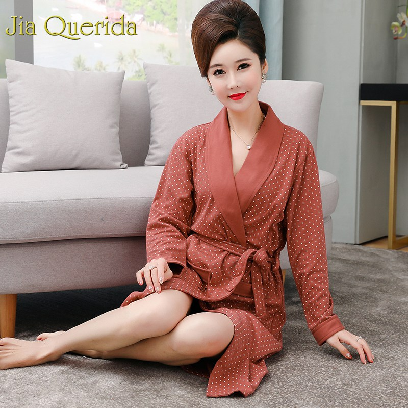 Cotton Womens Robe Spring New Batas De Mujer Plus Size Women's Kimono Cotton Bathrobe Mother's Gift Brand Bath Robe Long Sleeves