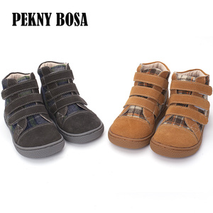 Image 2 - PEKNY BOSA Brand kid plaid ankle boots children Genuine Leather barefoot shoes spring autumn high top toddler girl and boy shoes