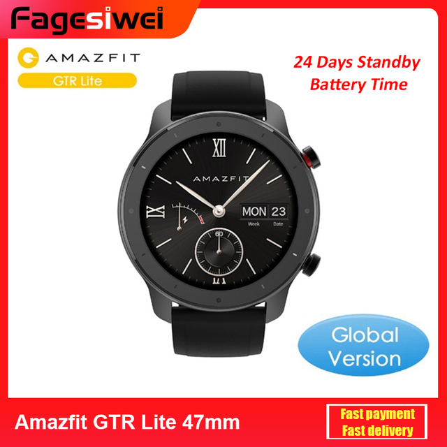 $ US $85.02 Global Version Amazfit GTR Lite 47mm Smartwatch 24 Days Battery 5ATM Waterproof Smart Watch AMOLED Screen For Xiaomi Android IOS