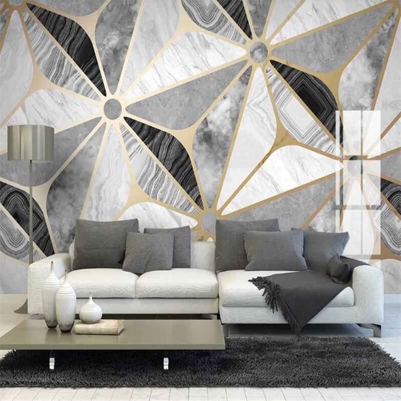 Large 3D Wallpaper Mural Custom Light Luxury Geometric Marble Jazz White Mosaic Background Wallpaper Mural