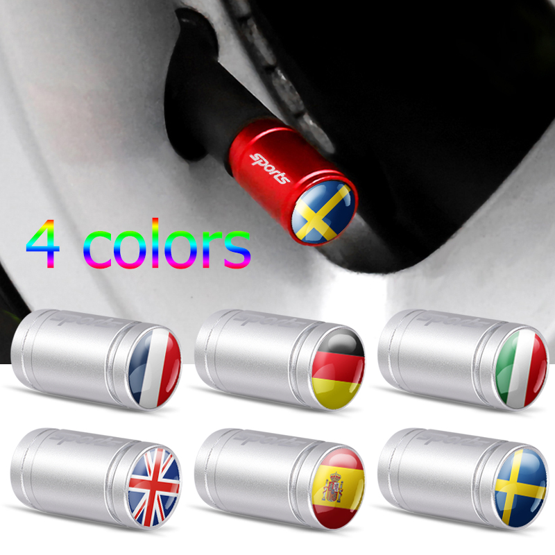 4Pcs Italy France UK Spain Germany Sweden National Flag Emblem Auto Bicycle Motorcycle Parts Wheel Tire Valve Caps Car Styling