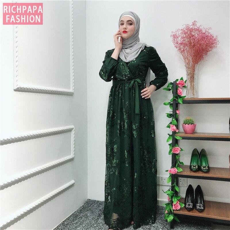 Image 5 - Рамадан блесток кружевная Абая Дубай, Турция Ислам Мусульманский хиджаб платье Кафтан Абая для женщин Jilbab Caftan одежда Qatar Elbise RobeМусульманская одежда    АлиЭкспресс