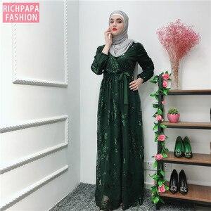 Image 5 - Ramadan เลื่อมลูกไม้ Abaya ดูไบตุรกีอิสลามมุสลิม Hijab Kaftan Abayas สำหรับผู้หญิง Jilbab Caftan เสื้อผ้ากาตาร์ Elbise Robe