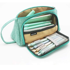 Pure Color Pencil Case Multi Slot Pen Bag Big Space Canvas Pouch Organizer for Stationery Cosmetic School Kids Supplies H6443