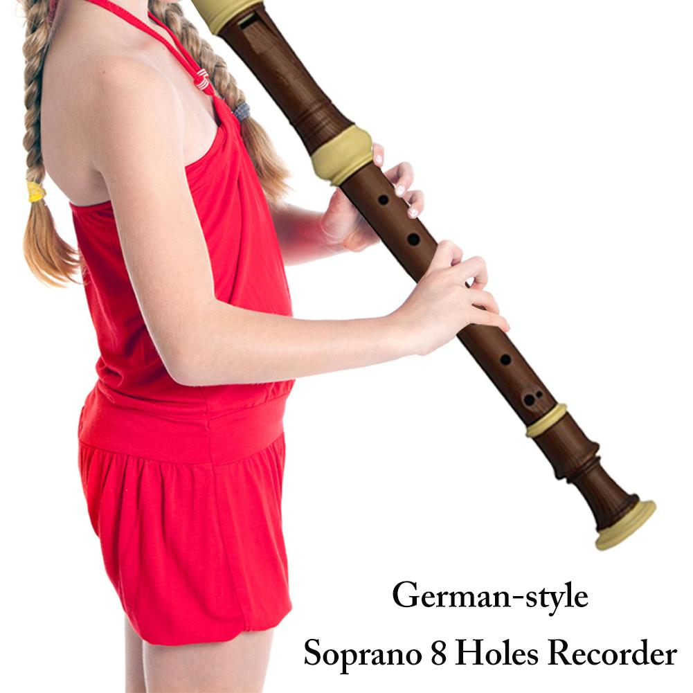 German-style 8 Holes Recorder Soprano Clarinet Chinese Vertical Dizi ABS Resin Plating Wood Grain Flute C Key Music Instrument