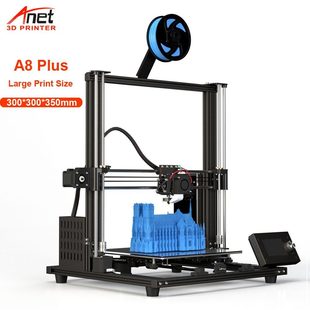 3D-принтер Anet A8 Plus, обновленный, 300*300*350 мм, малошумный, высокоточный, настольный комплект для 3d-печати, USB, SD-карта для подключения