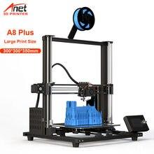 Impressora 3d anet a8 plus, impressora 3d de alta precisão, 300*300*350mm atualizada, baixo ruído, impressão 3d kit usb cartão sd conexão
