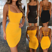 Goocheer Fashion Womens Holiday Strappy Bodycon Dress Ladies Summer Beach Party Mini Sundress
