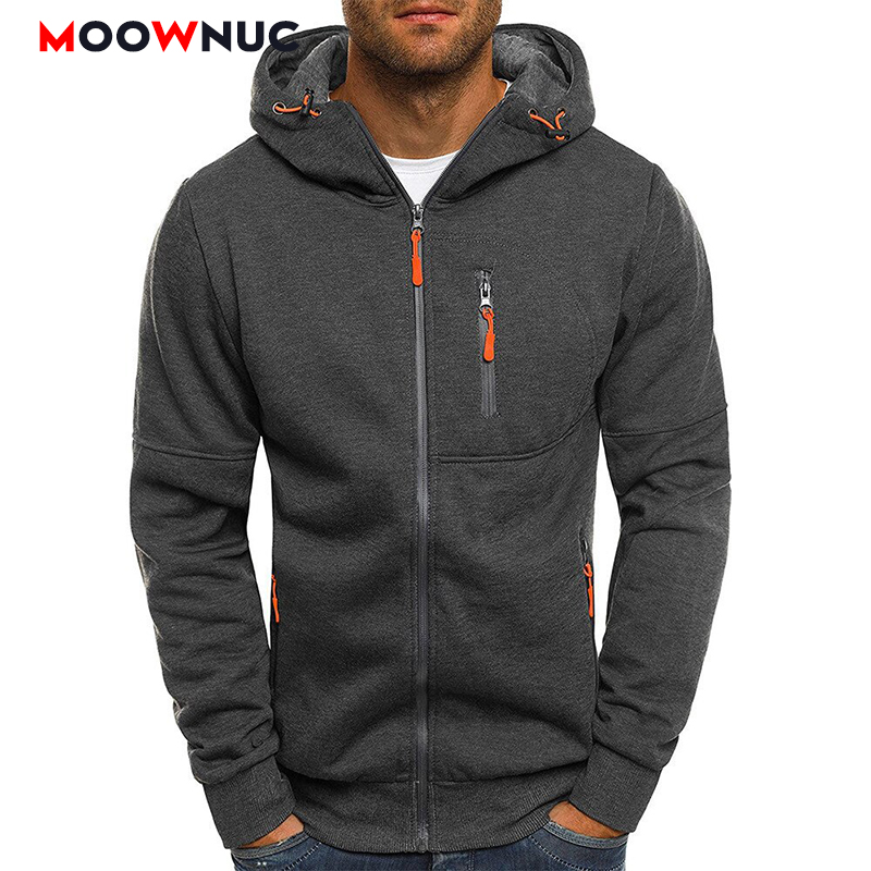 Streetwears Men's Hoodies Cardigan Hat Solid Thin Autumn Hombre Casual Hip-Hop Slim Street Dress Fashion Hoodeds MOOWNUC Jogge