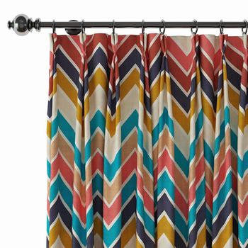 Pinch Pleat Nickel Grommet Print Blackout Curtain Drapery with Liner ChadMade Barbara (1 Panel) Size and Header Type Custom