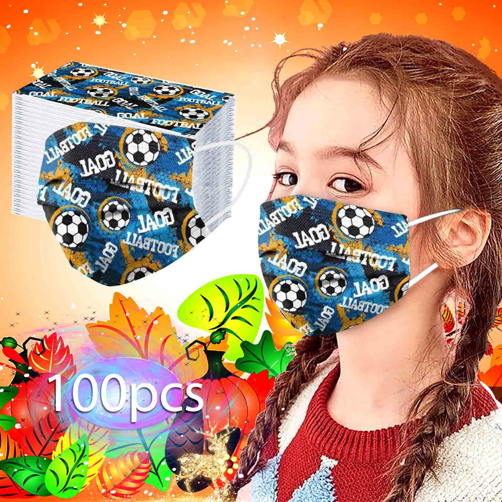 2020 одноразовая маска для детей модные Футбол Печатные защитные маски для лица 3-Слои пыле дышащая маска 50/100 шт