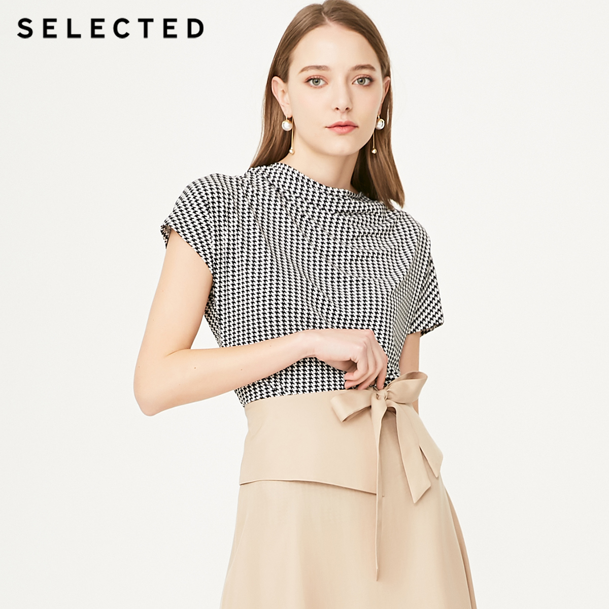 SELECTED Women's Stretch Houndstooth Pattern Short-sleeved T-shirt S|419201529