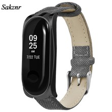 SAKZNR Gray Denim Leather Bracelet Wristband Strap Watch Band For Xiaomi Mi Band 3 Metal Case Smart Watch Replacement(China)