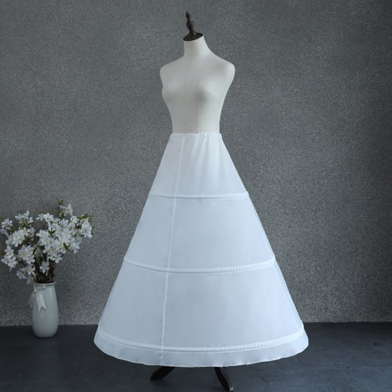 Womens Adjustable Waist 3 Hoop A-Line Wedding Bridal Petticoat Crinoline Single Layer White Ball Gown Half Slip Underskirt