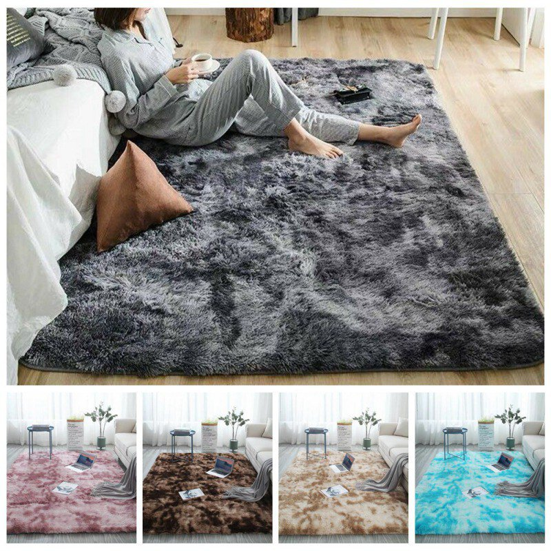 Soft Fake Fur Non-Slip Decorative Floor Mat Washable Long Plush Area Rug For Living Room Bedroom Playing Rooms