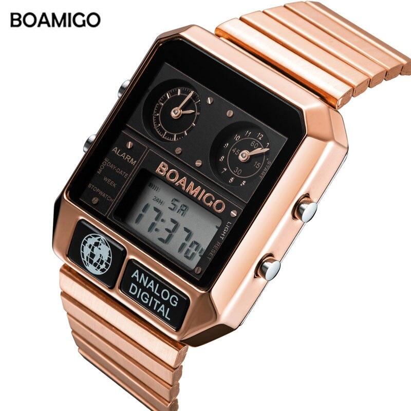 BOAMIGO Топ бренд Роскошные спортивные часы мужские модные цифровые аналоговые светодиодный часы подарок на Новый год relogio masculino