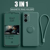 Poco-funda con anillo magnético F3 Pocophone F3, soporte de silicona líquida para cámara completa, Fundas protectoras funda para Xiaomi Redmi K40 K 40 Pro carcasa