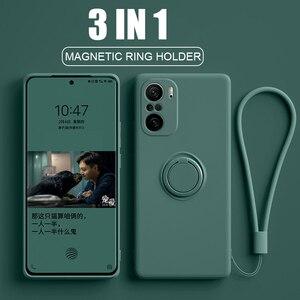 Image 1 - Poco f3 capa pocofone f3 pocof3 anel magnético suporte de silicone líquido completo protetor da câmera capas capinha para xiaomi redmi k40 k 40 pro