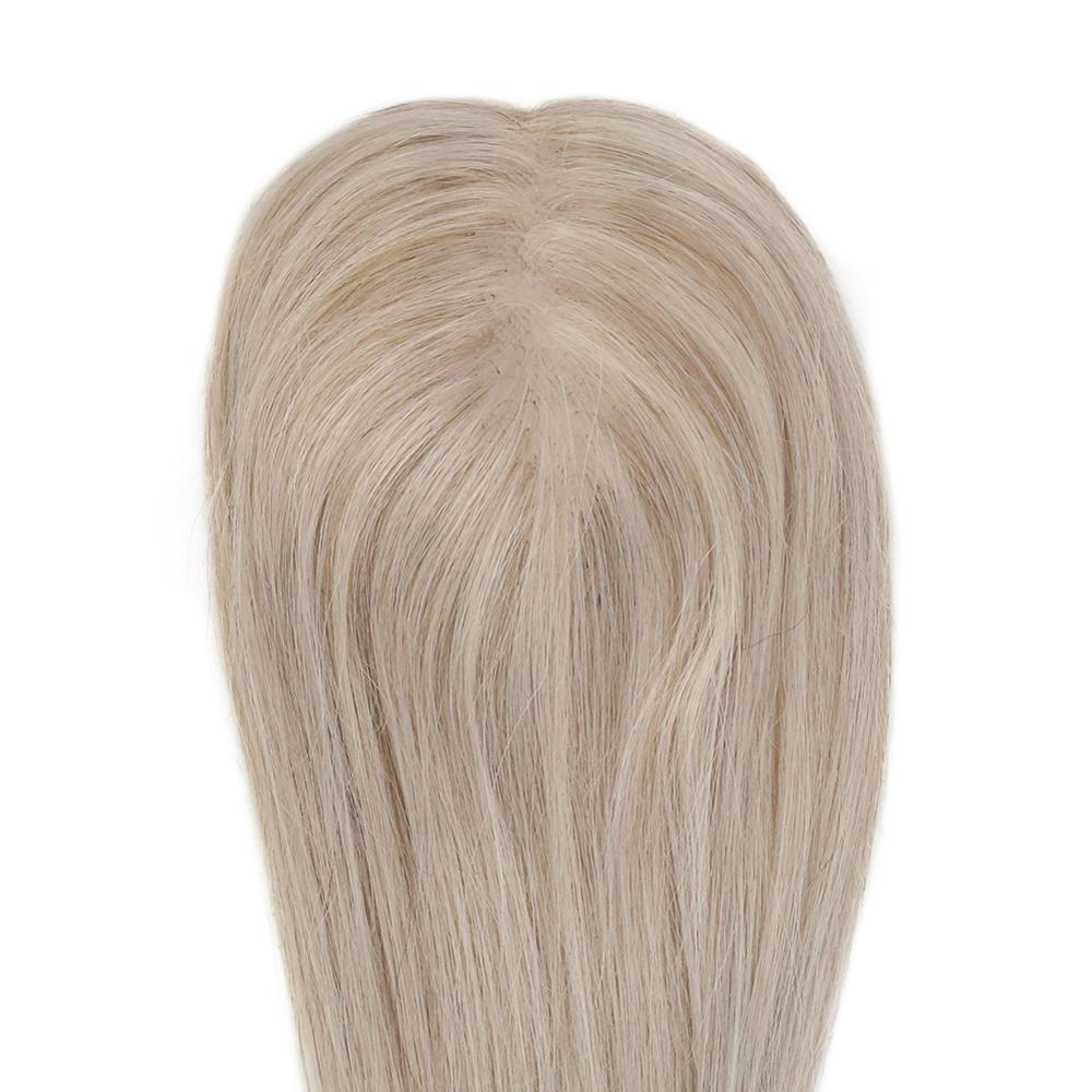 Moresoo Hair Topper Machine Remy Human Hair Topper With Clips Toupee Women 1.5*5 Inch 10-18 Inch Highlight Color #P18/613 Blonde